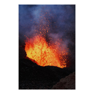 Fountain of hot lava erupting from volcano crater poster