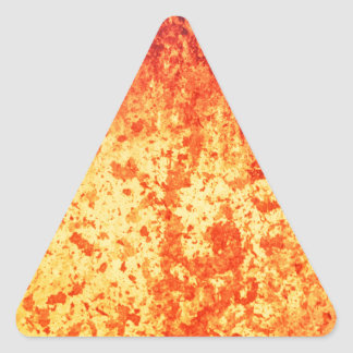 Fountain of hot lava erupts from crater volcano triangle sticker