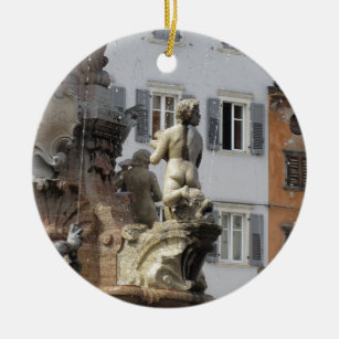 Fountain of Neptune . Trento, Italy Ceramic Ornament