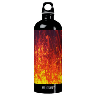 Fountain of red lava erupting from crater volcano aluminum water bottle