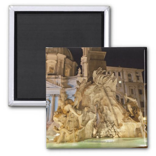 Fountain of the 4 Rivers, Piazza Navona, Rome Fridge Magnets
