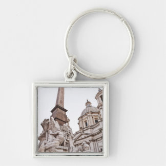 Fountain of the Four Rivers and Obelisk Silver-Colored Square Keychain