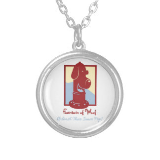 Fountain of Woof - Sm Silver Plated Round Necklace