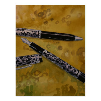 fountain pen antique art postcard