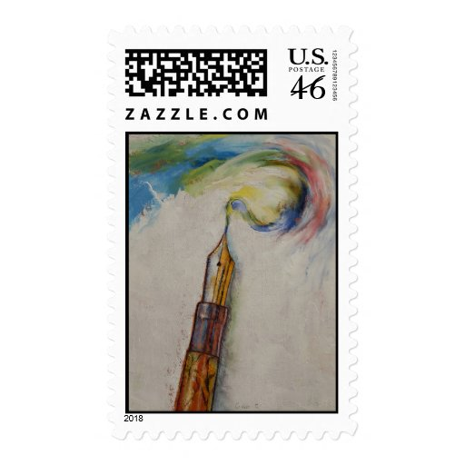 Fountain Pen Postage Stamps