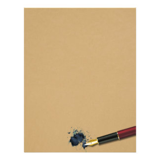 Fountain Pen with Ink Blot - Letter Paper Letterhead