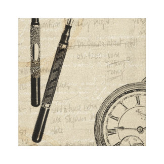 Fountain Pens and Watchface with Notes Canvas Print