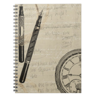 Fountain Pens and Watchface with Notes Notebook