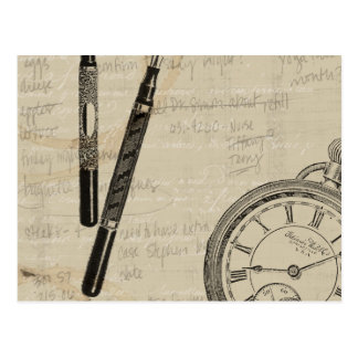 Fountain Pens and Watchface with Notes Postcard