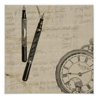 Fountain Pens and Watchface with Notes Poster