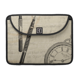 Fountain Pens and Watchface with Notes Sleeve For MacBook Pro