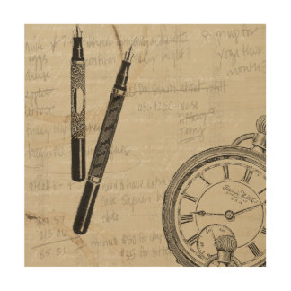 Fountain Pens and Watchface with Notes Wood Wall Art
