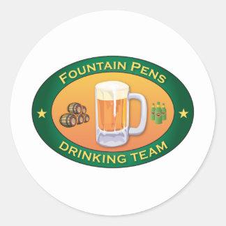 Fountain Pens Drinking Team Classic Round Sticker