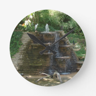 """""""Fountain """" Photography by Carter L. Shepard Round Clock"""
