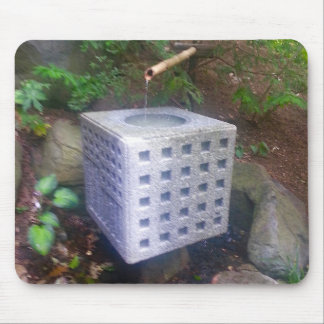 Fountain Stone Cube and Bamboo Japanese Gardens Mouse Pad