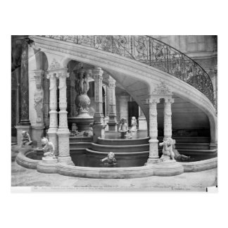 Fountain under the stairs of the Hotel de Postcard