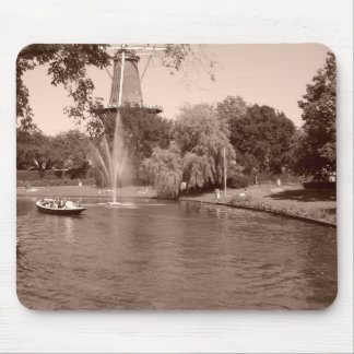 Fountain & Windmill in Leiden Mouse Pad