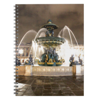 Fountain with the lights of Paris Notebook