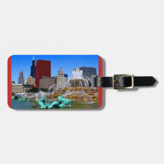 Fountains and Skyscraper Buildings Luggage Tag