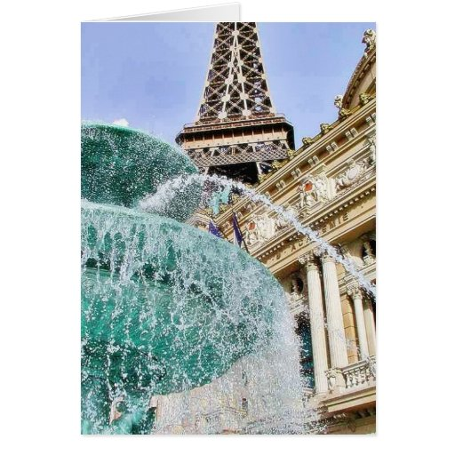 Fountains Eiffel Towers Greeting Card