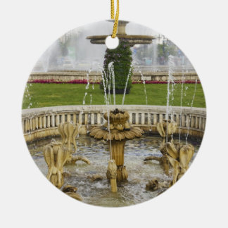 Fountains in front of the Palace of Parliament Double-Sided Ceramic Round Christmas Ornament