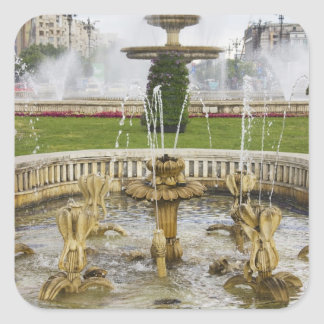Fountains in front of the Palace of Parliament Square Sticker