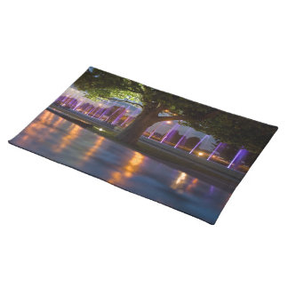Fountains show - Warsaw city by night placemate Cloth Placemat