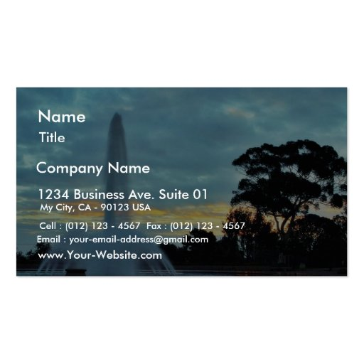 Fountains Sunrises Clouds Mornings Business Card
