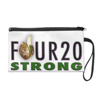"""FOUR20STRONG"" - Vert. Logo Women's Satin Wristlet"