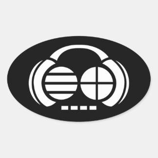 Four4ths (Oval Sticker) - White Logo on Black Oval Sticker