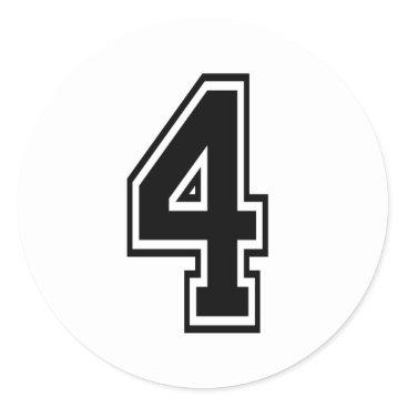 Four 4 Black Sports Font Classic Round Sticker