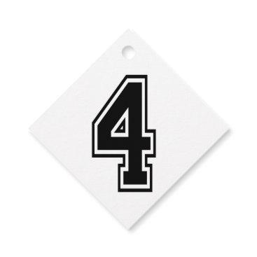 Four 4 Black Sports Font Favor Tags