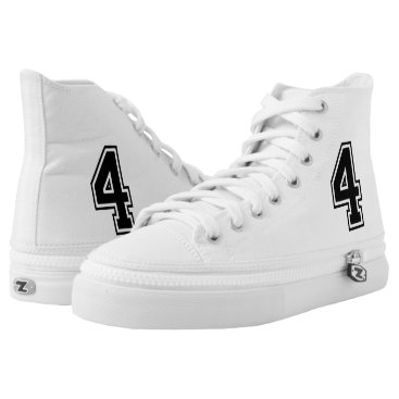 Four 4 Black Sports Font High-Top Sneakers