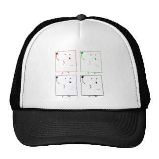 Four abstract heads trucker hat