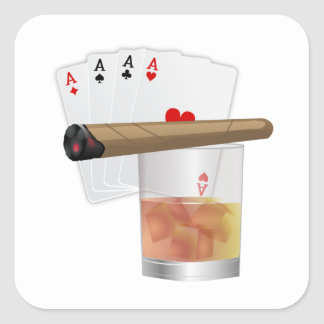Four Aces & A Cigar Square Stickers