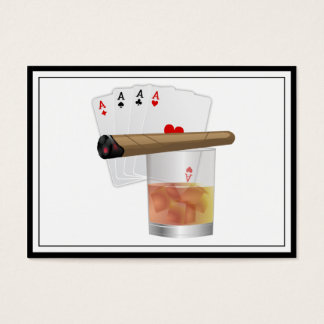 Four Aces, A Drink and A Cigar Business Card