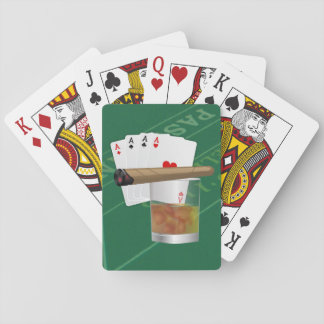 Four Aces, A Drink and A Cigar Playing Cards