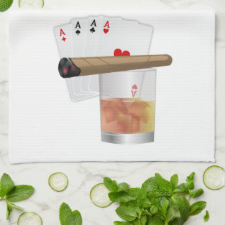 Four Aces, A Drink and A Cigar Towel