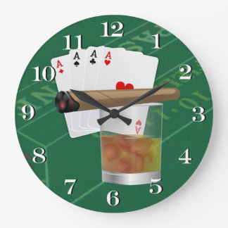 Four Aces, A Drink and A Cigar Wall Clocks