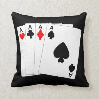 Four Aces Black Pillow