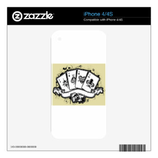 Four aces cards design iPhone 4S decal