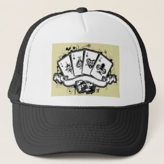 Four aces cards design trucker hat