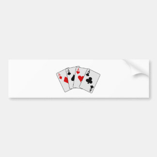 Four Aces (Four of a Kind) Poker Playing Cards Bumper Sticker