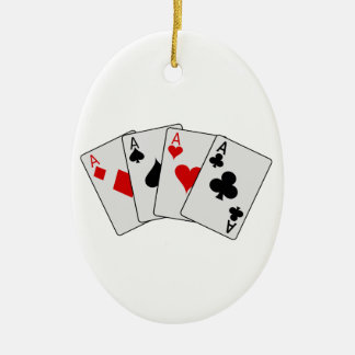 Four Aces (Four of a Kind) Poker Playing Cards Ceramic Ornament