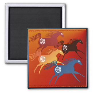 Four Ancient Horses_Magnet 2 Inch Square Magnet