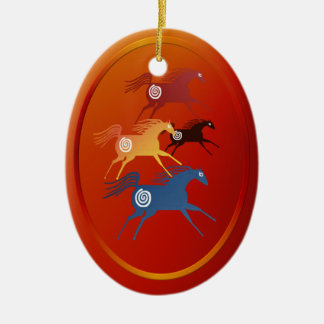 Four Ancient Horses ornament_oval Ceramic Ornament