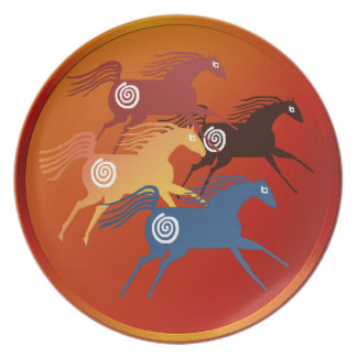 Four Ancient Horses Plate