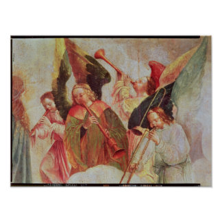 Four angels playing instruments poster