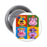 Four Animal Faces 2 Inch Round Button