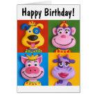 Four Animal Faces Card